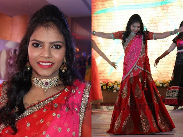 Bride in Red and Pink Half Saree