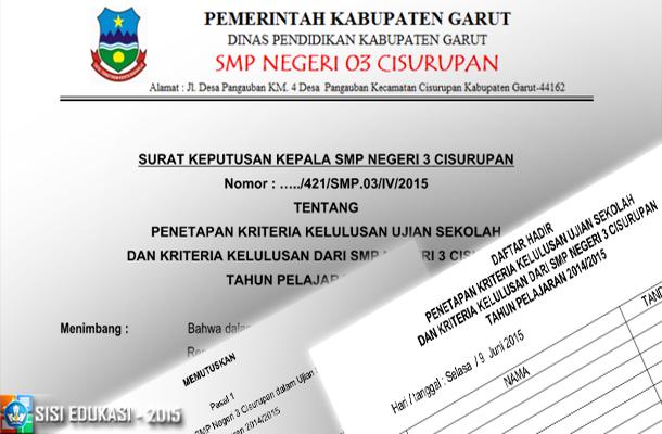 Contoh SK Penetapan Kriteria Kelulusan Ujian Sekolah SMP