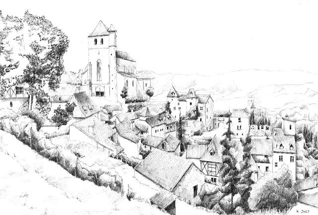 Saint-Cirq-Lapopie encre