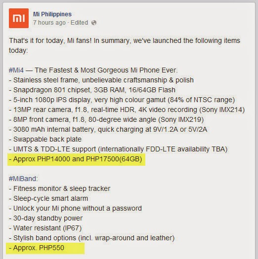Xiaomi Mi4 Philippines, Xiaomi Mi4