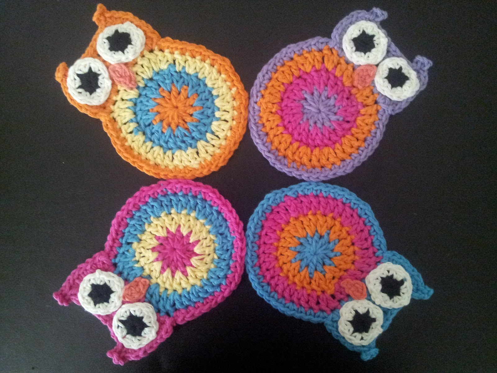 Crochet owl coasters free pattern manet for chirpinbirdie fun flower coaster crochet owl coasters free pattern bankloansurffo Images
