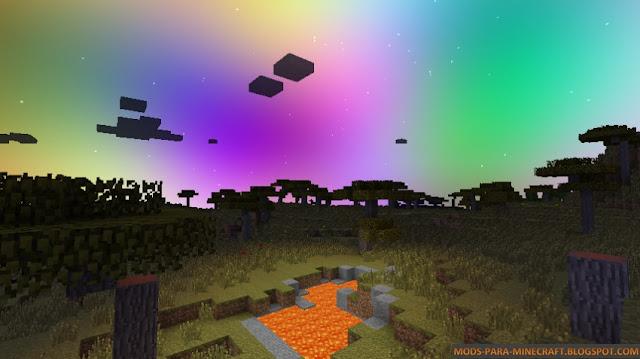 Otra imagen en donde vemos el color del cielo muy diferente al normal de Minecraft