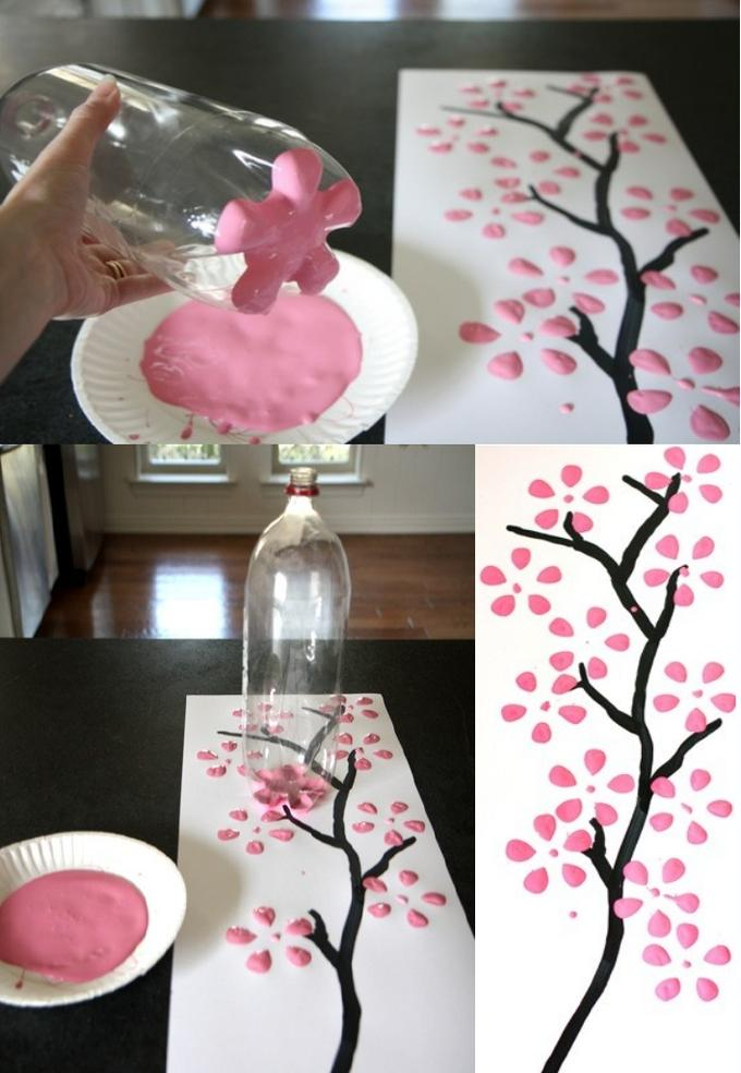 Pintando quadro com garrafa pet decora o e inven o - Manualidades para la habitacion ...