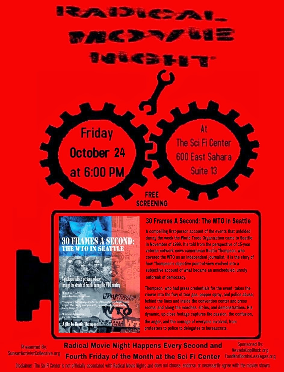 RadicalMovieNightFlyer30FAS Free Radical Movie Night Screening   30 Frames a Second: The WTO in Seattle Fri. Oct. 24th