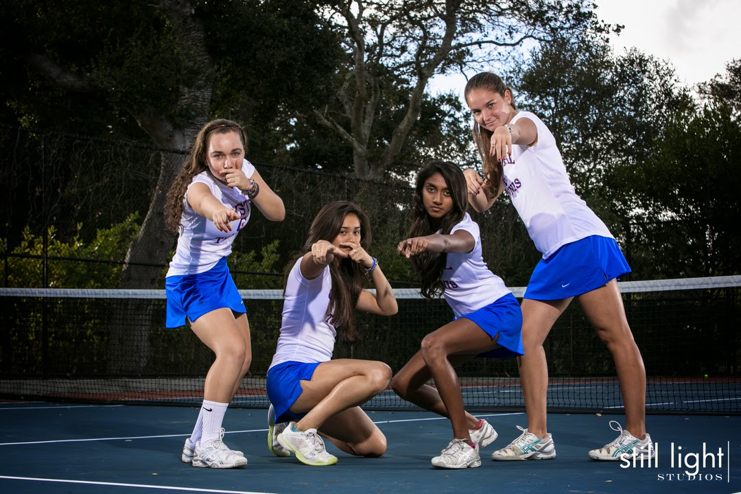 Hillsborough Crystal Springs Uplands Tennis Team Photo by Still Light Studios, School Sports Photography and Senior Portrait in Bay Area, cinematic, nature