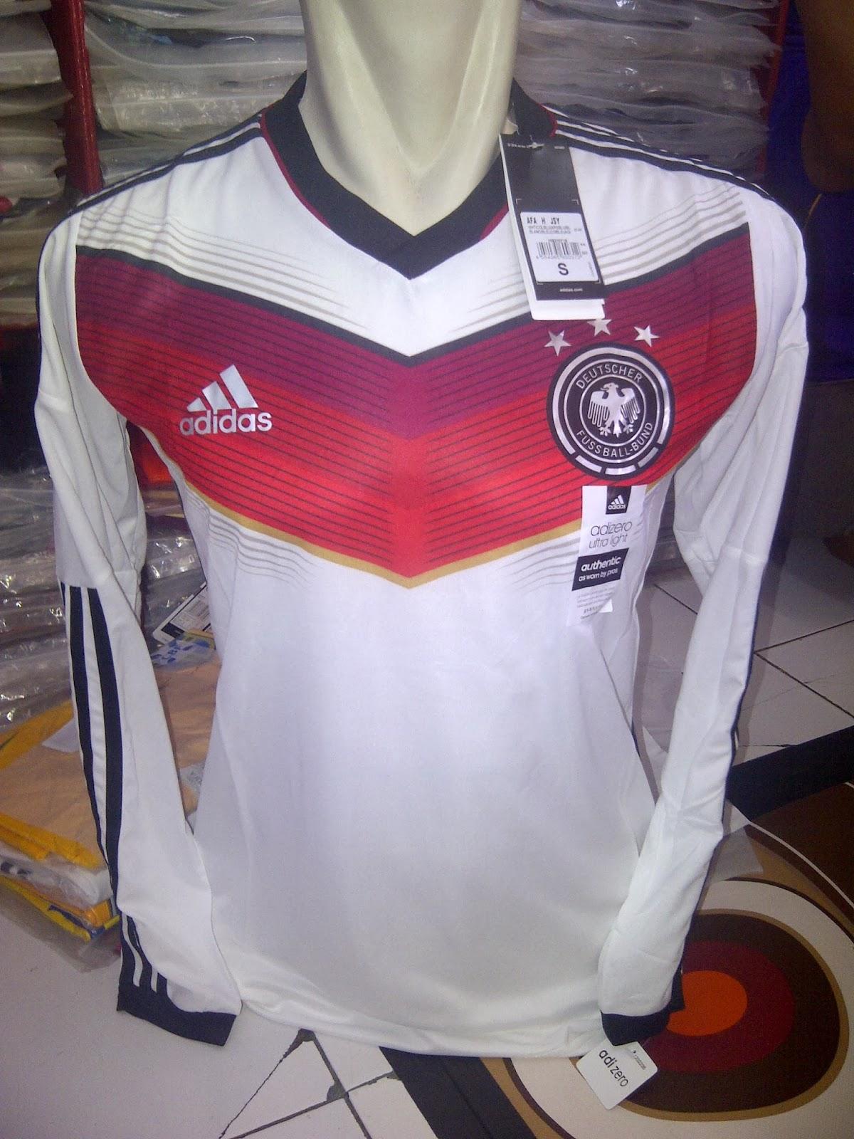 Jersey Bola Grade Ori Jerman Home Long Sleeve World Cup 2014