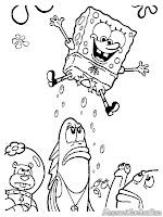 Gambar SpongeBob SquarePants Terbang Untuk Diwarnai