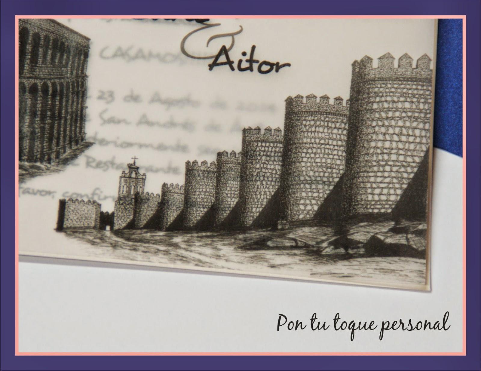 invitacion de boda elegante con dibujos a plumilla Segovia y Avila 2