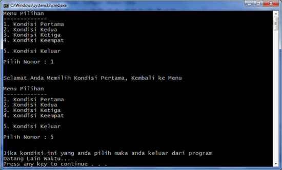 Program Menu Java