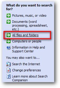 search all files or folders