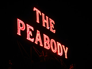 The Peabody Hotel rooftop sign in Memphis, TN