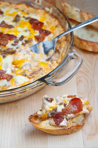 This bacon double cheese burger dip goes great on toasted baguette ...