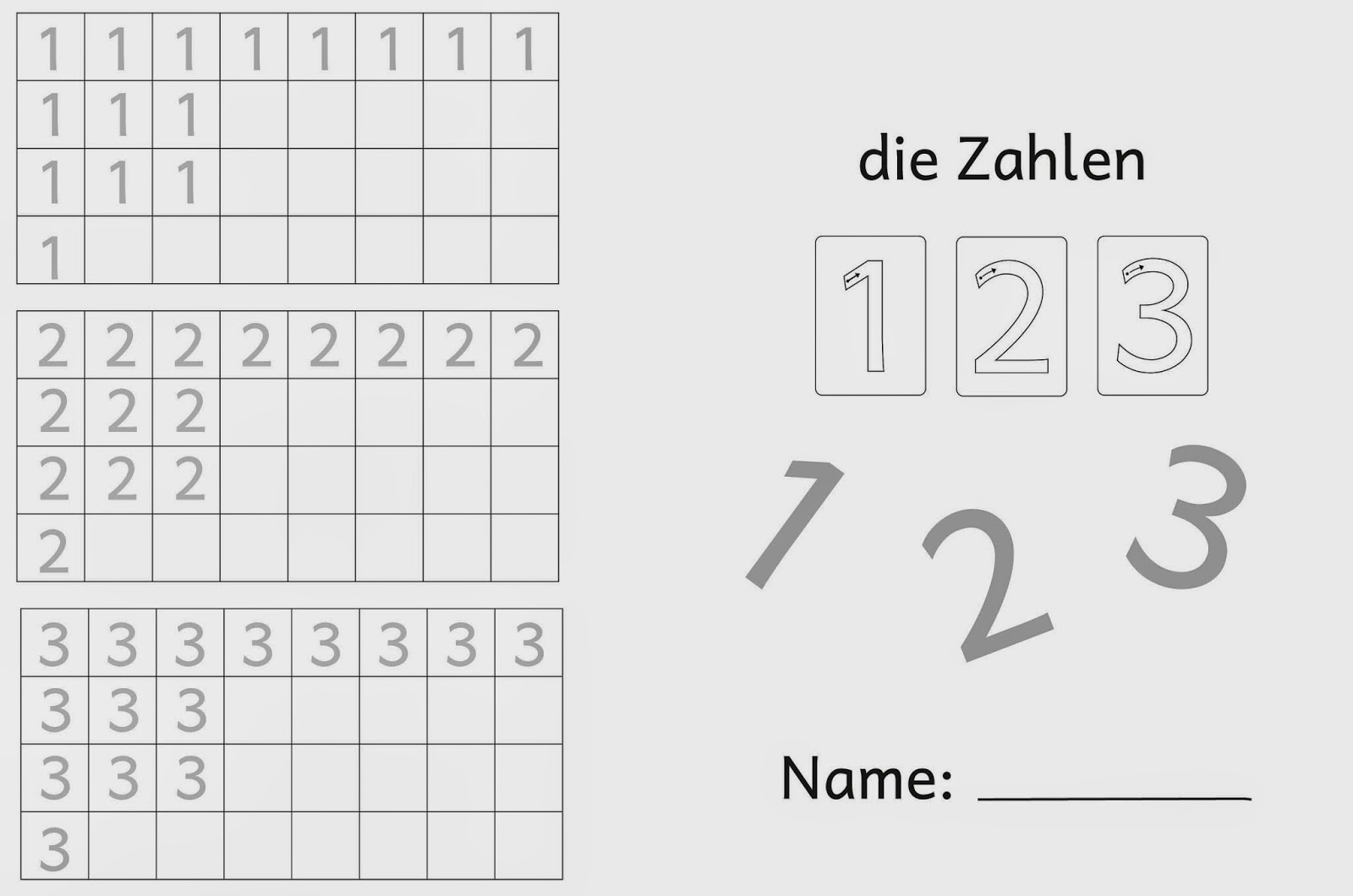 Lernstübchen: Ziffernschreibkurs 1 2 3 kleinere Zahlen (4)