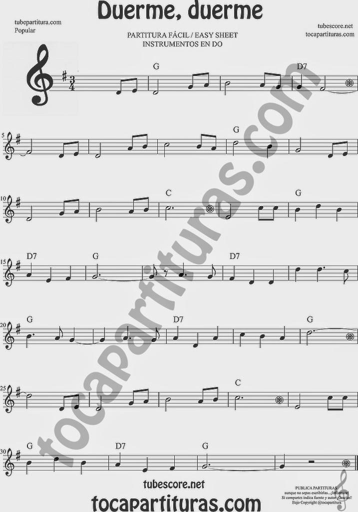 Duerme Duerme Partitura Fácil en SOl Mayor para Flauta Dulces e instrumentos de clave de sol Easy Flute sheet Music treble clef