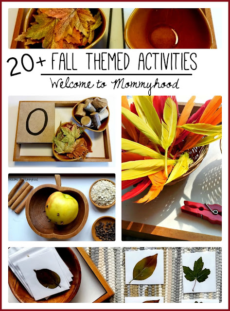 Over 20 fall themed activities for toddlers and preschoolers by Welcome to Mommyhood #montessori, #montessoriactivities, #preschoolactivities, #totschoolactivities, #toddleractivities, #fallactivitiesforkids