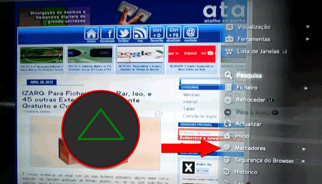 Opções do Navegador de Internet na Playstation