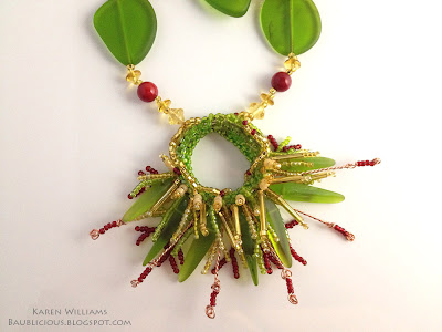 Sea Grass pendant, freeform beaded fringe by Karen Williams
