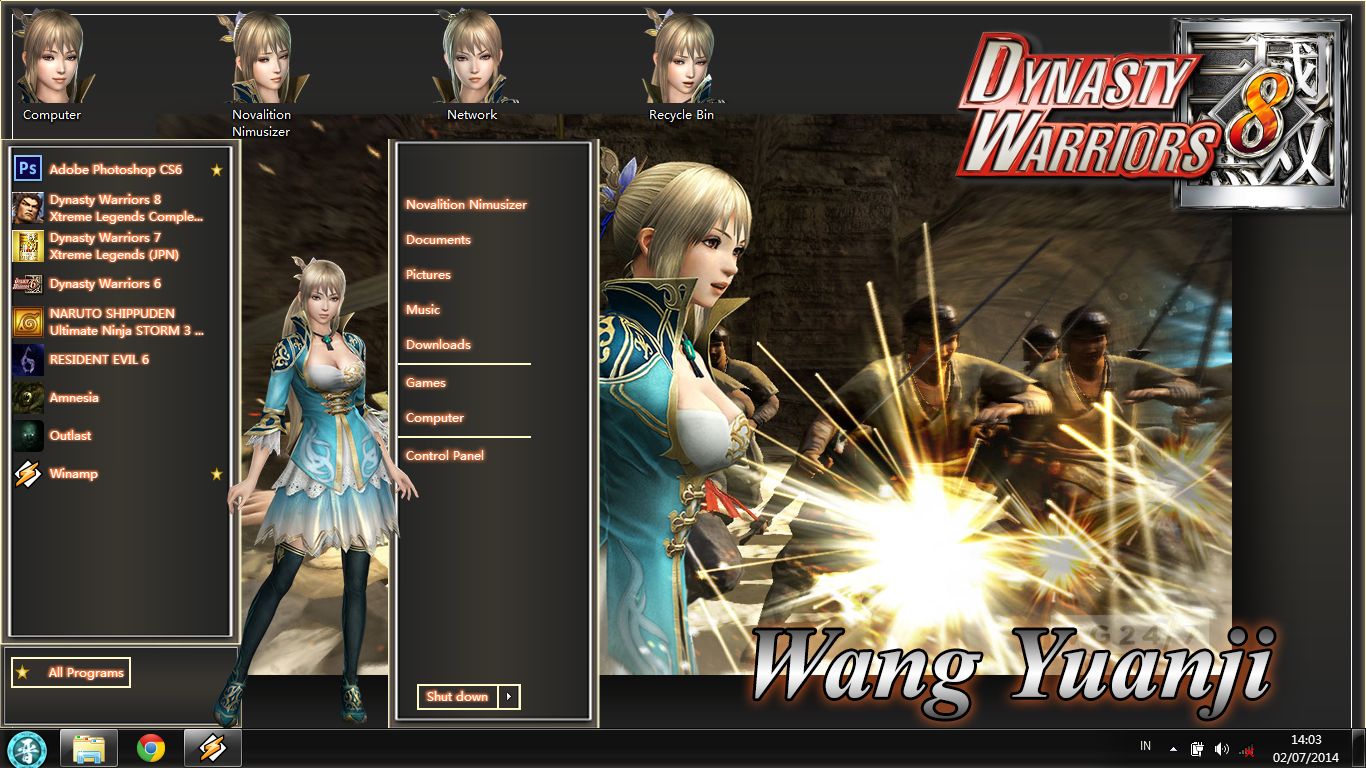 [Theme Win 7] Dynasty Warriors 8 - Wang Yuanji by Novalition Image 1 - Suck-Style