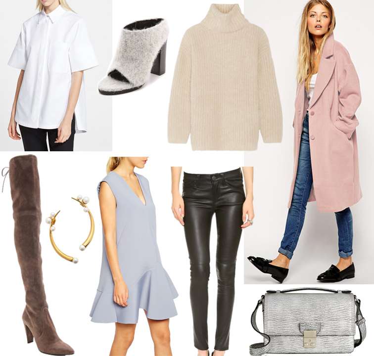 Fashion Over Reason fall 2014 wish list, Proenza Schouler cotton top, Tibi Leona felt mules, Helmut Lang angora turtleneck, ASOS oversized pink coat, Current/Elliot leather pants, ASOS powder blue dress, Amber Sceats gold and pearl ear cuff, Stewart Weitzman over the knee tan suede boots