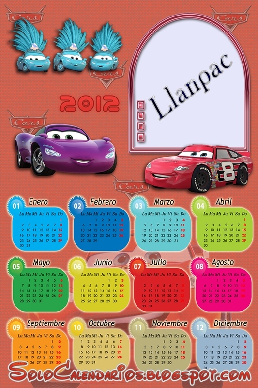 Calendario 2011 Y 2012 Pelicula Disney Cars Para Photoshop  Psd Png