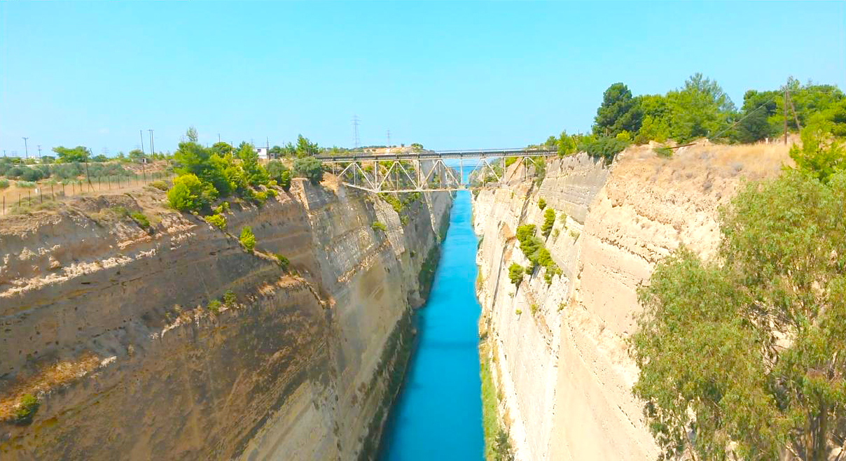 The Corinth Canal, which turned the Peloponnese peninsula into an island 100
