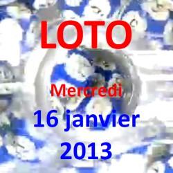 Résultat du LOTO - tirage du mercredi 16 janvier 2013