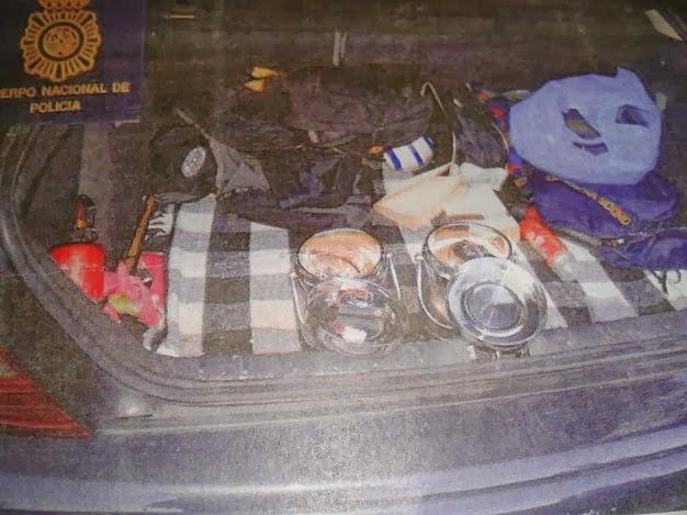 Explosivos que portaban Carlos Calvo Valera y Xurxo Rodríguez Oliveira en el momento de su detención