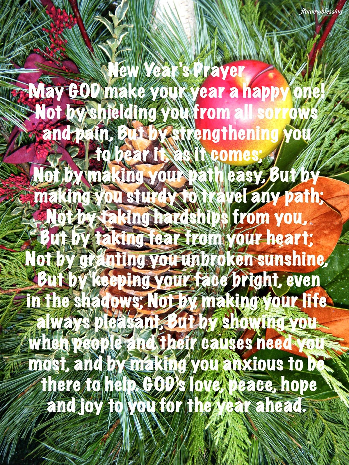 Flowery Blessing: - New Year\'s Prayer - May GOD make your year a ...