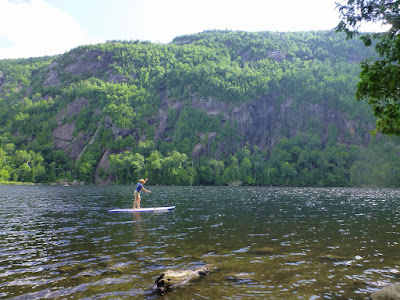 Beth paddle boarding at Chapel Pond, Saturday July 18, 2015.  The Saratoga Skier and Hiker, first-hand accounts of adventures in the Adirondacks and beyond, and Gore Mountain ski blog.
