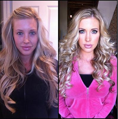 Actrices porno antes y después del maquillaje