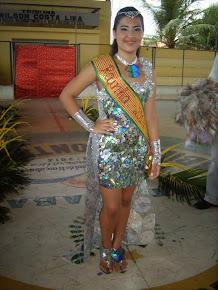 1ª colocada no desfile, escolha da rainha e fantasia feita de material reciclado. Carnaval 2014