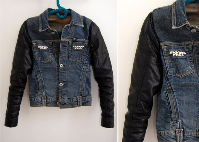 Denim jacket with leather vest – Modern fashion jacket photo blog
