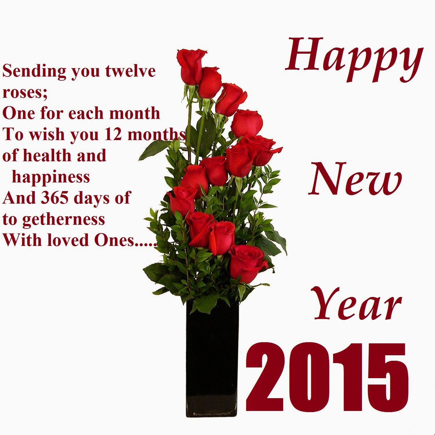 Happy new year 2015 greetings wishes roses wallpaper m4hsunfo