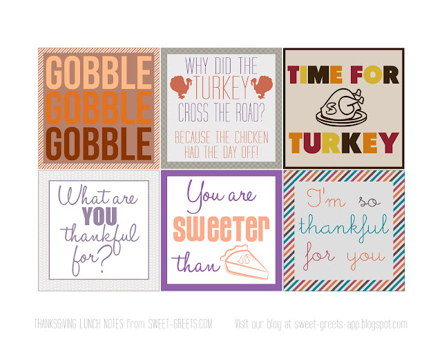 Free Thanksgiving Lunch Box Notes