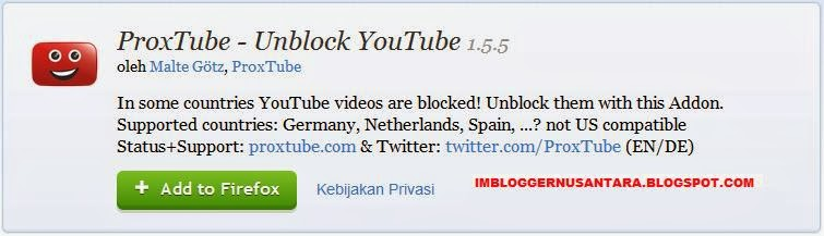 Cara membuka video youtube blokir add on proxtube