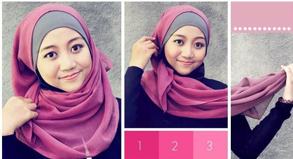 Cara+memakai+Hijab+Kerudung+Segiempat Cara Memakai Hijab Kerudung Segiempat