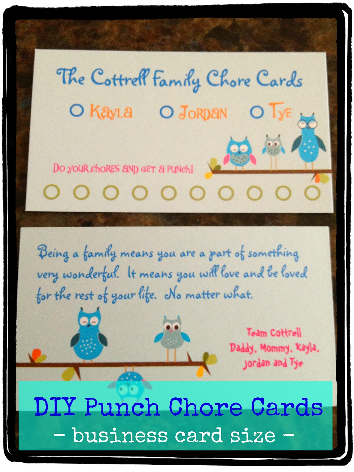 diy fancy chore card using business cards busy kids happy mom