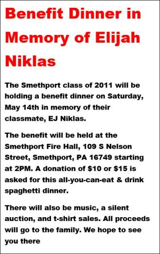 5-14 Benefit Dinner For Elijah Niklas