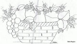 desenho de cesta com maças, peras e uvas