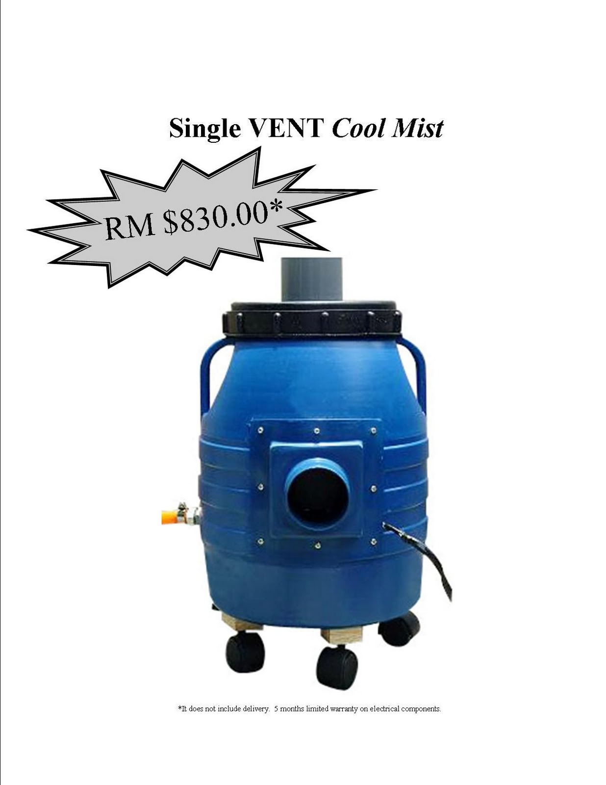 Ultrasonic Humidifier Single Vent Cool Mist (For Swiftlet House Use) #1D6DAE