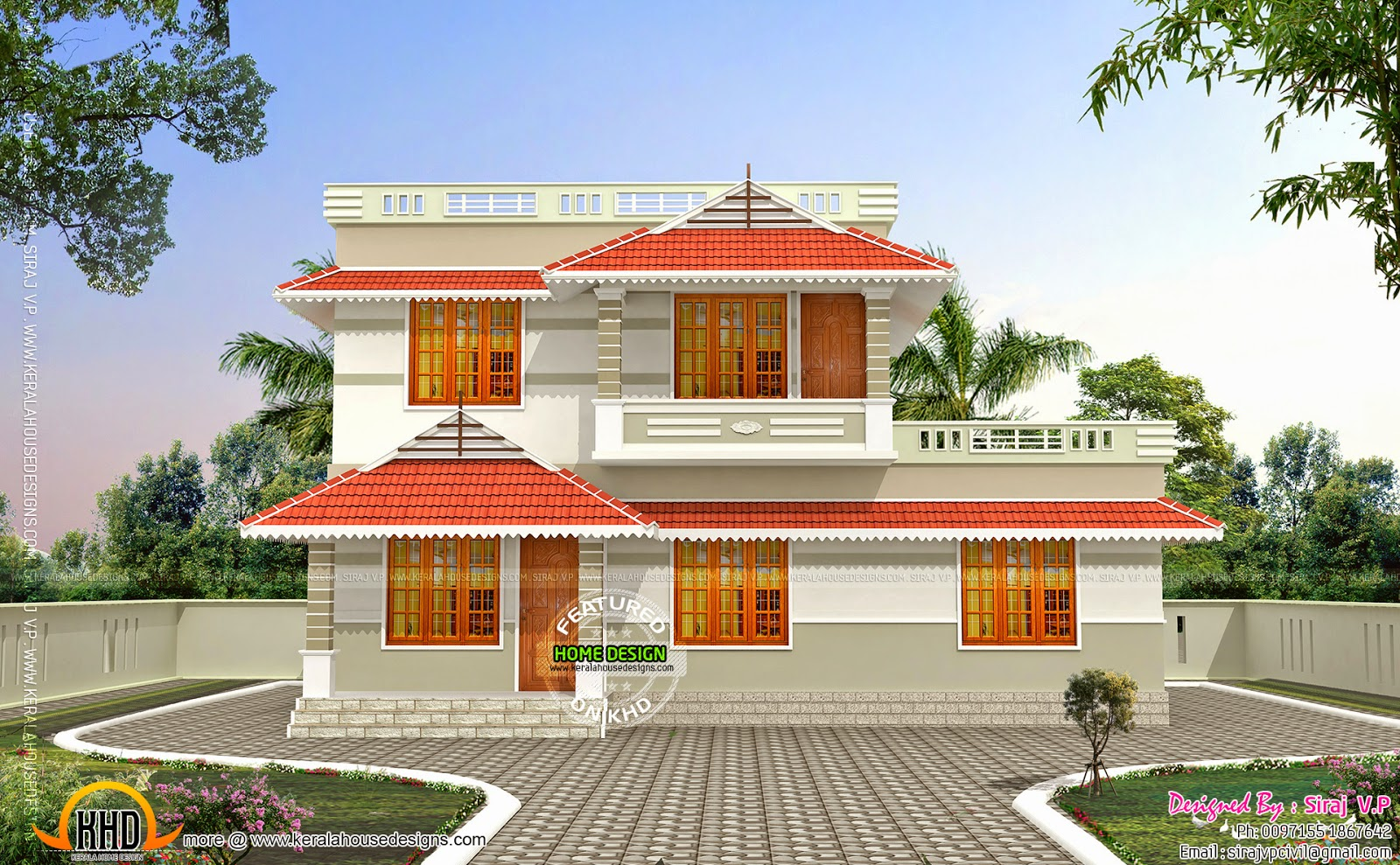 Kerala style low cost double storied home kerala home for Home elevation front side