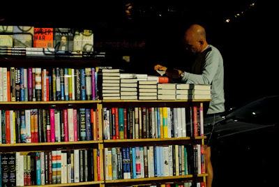 A patron of KramerBooks in Dupont Circle, Washington, DC.