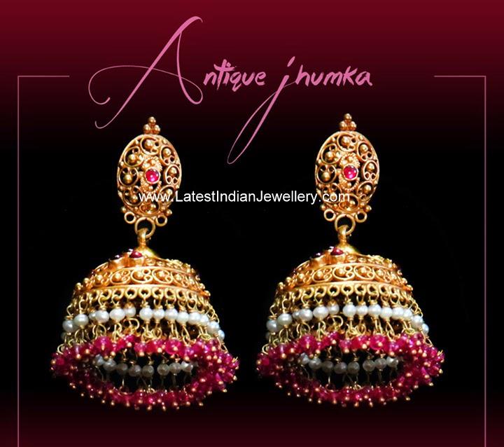 antique gold latest jhumkas design