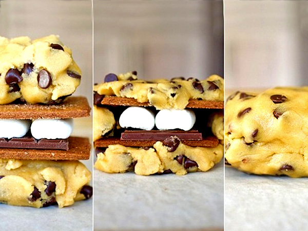 S'mores Recipe: Giant S'mores Stuffed Chocolate Chip Cookies