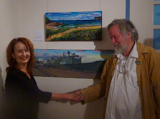 exhibition at Mosman Art Gallery - Jane Bennett industrial heritage artist painting of ex HMAS Adelaide from Avoca Beach - with Paul Delprat principal of Julian Ashton art school