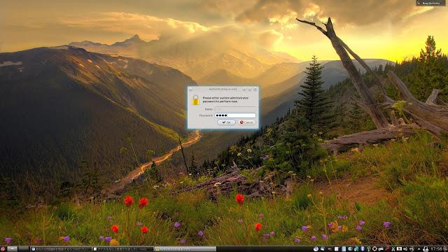 PC-BSD 9.1 でスーパーユーザーになる場合、表示された画面にシステム管理者のパスワードを入力します。