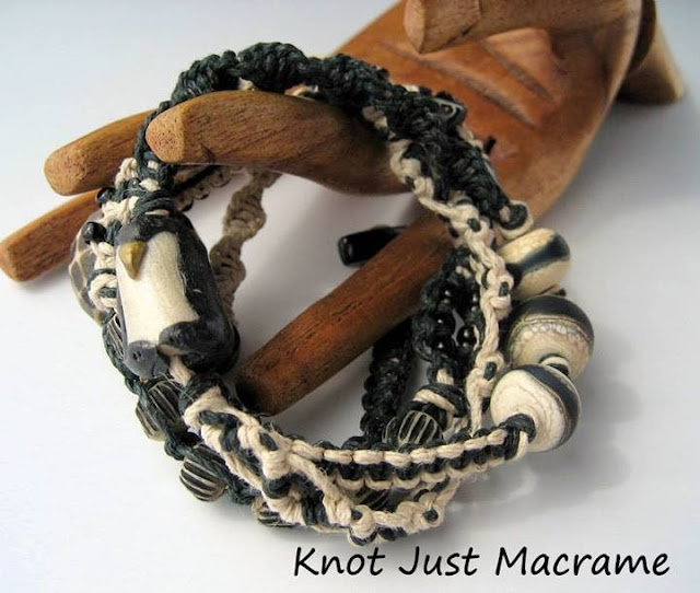 Micro Macrame Wrap Bracelet Class project with polymer penguin bead by Windbent
