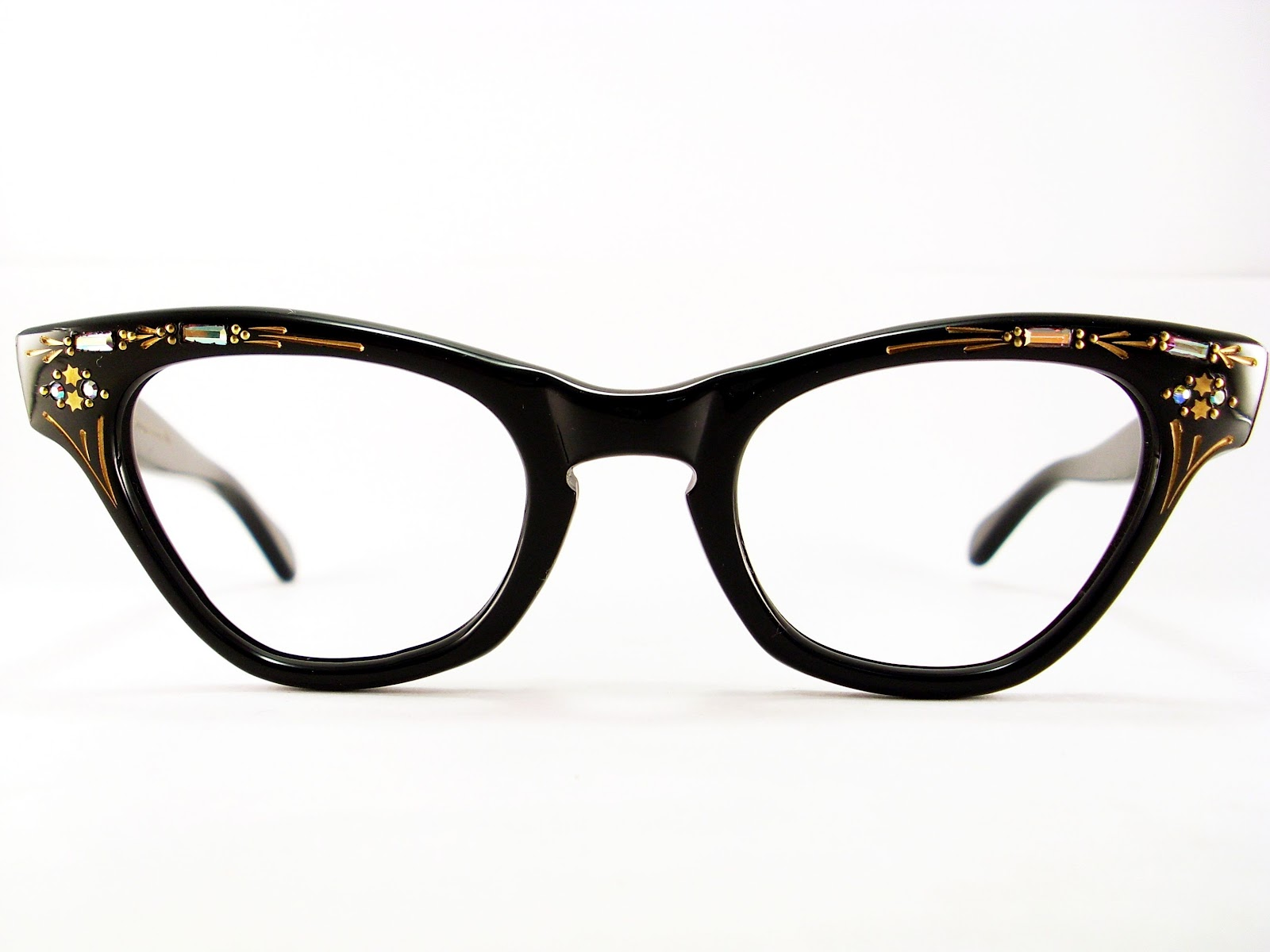 Vintage Black Frame Glasses : Vintage Eyeglasses Frames Eyewear Sunglasses 50S: CAT EYE ...