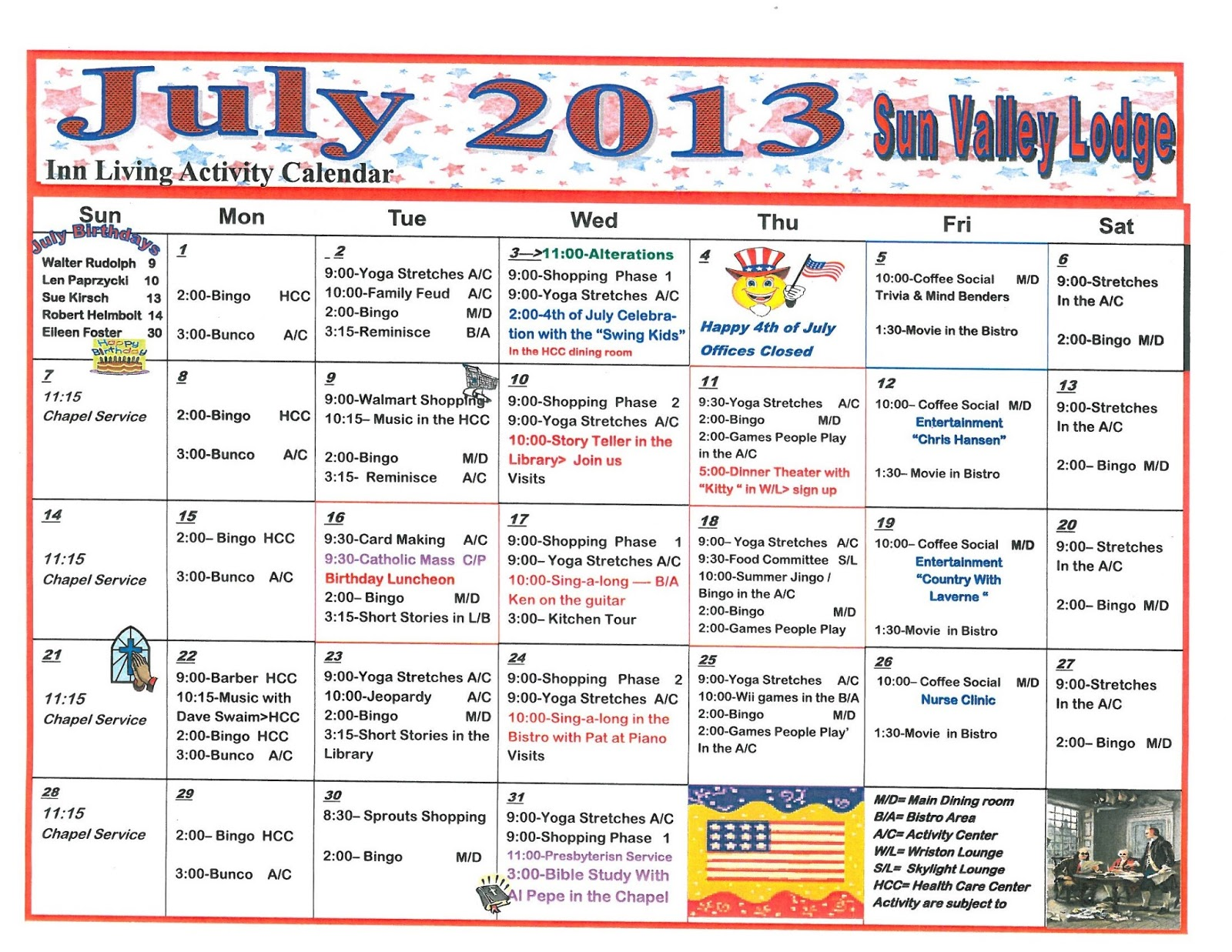 Calendar Ideas For July : Retirement life care journal july assisted