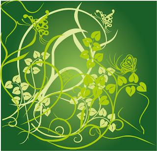 緑の葉と蝶のシルエットの背景 Floral Green Background Vector イラスト素材